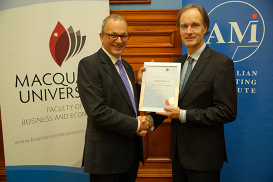 Dean of Faculty of Business and Economics, Professor Mark Gabbott and AMI CEO, Mark Crowe