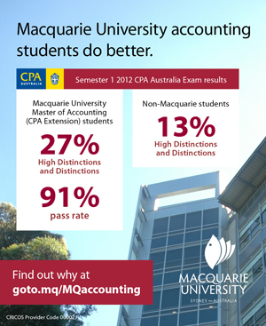 Macquarie University's accounting students do better in CPA exams. 91% pass rate, 27% high distinction or distinction.
